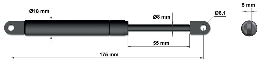 Plynové vzpery pre kuchynské skrinky - Model 2b