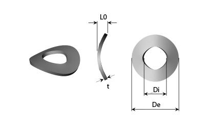 Technické kreslenie - Pružiace podložky prehnuté